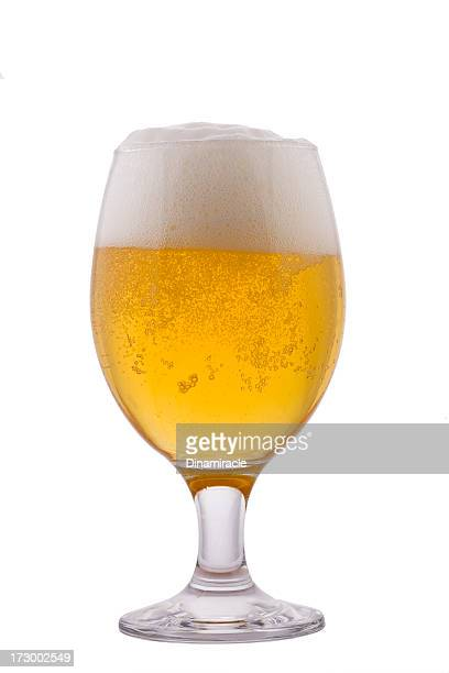 cup of beer with foam isolated on white - wine glass stock photos and pictures