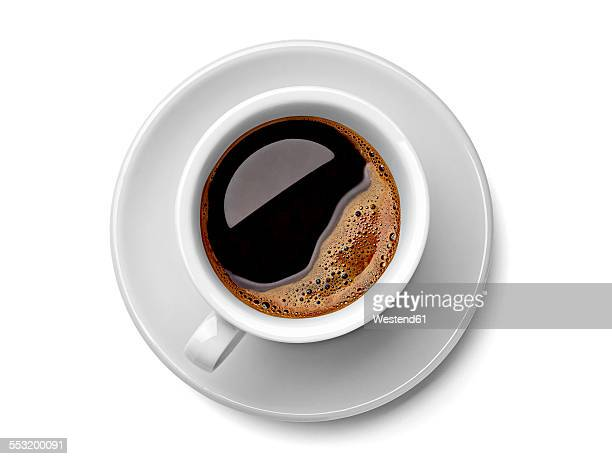 cup of black coffee on white background - taza cafe fotografías e imágenes de stock