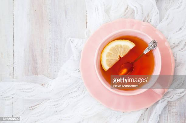 cup of black tea with lemon - tea stock photos and pictures