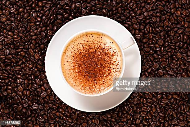 Cup of cappuccino coffee with chocolate powder