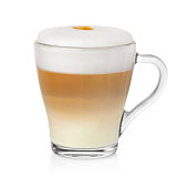Cup of cappuccino on white