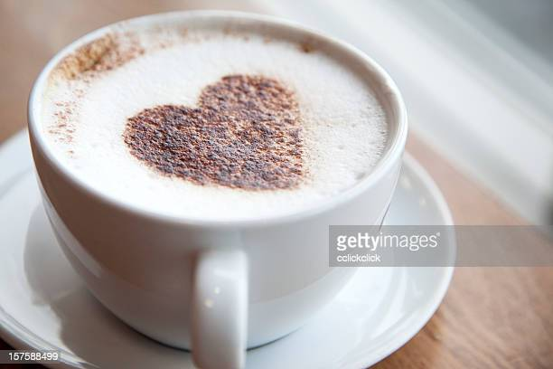 Cup of cappuccino with a heart design