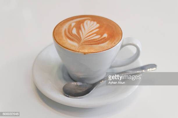 A cup of Cappuccino with fine defined latte art