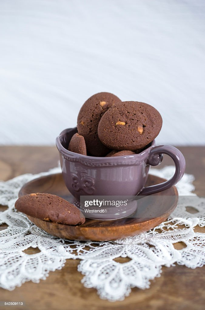Cup of chocolate cookies with chunks of white chocolate : Stock Photo