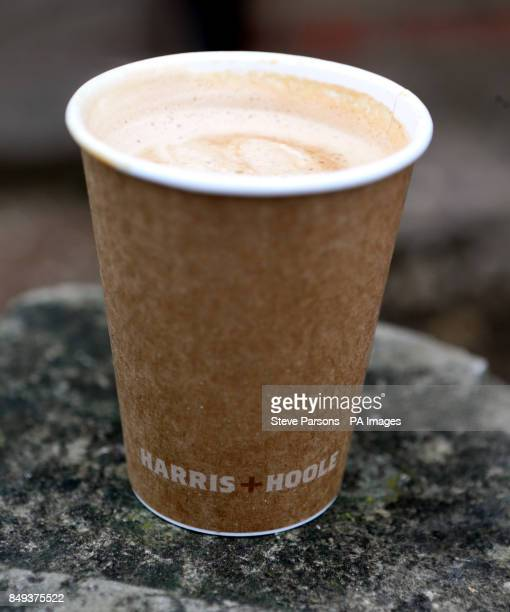A cup of coffee from the Harris and Hoole coffee shop in WaltononThames Surrey which is part owned by Tesco as Tesco revealed its best UK sales...