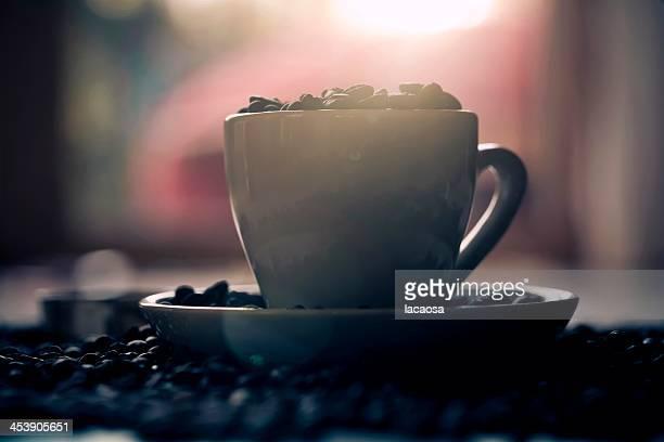 cup of coffee in evening sun