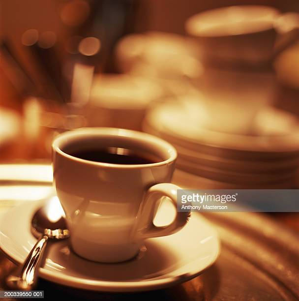 cup of espresso in restaurant - anthony-masterson stock pictures, royalty-free photos & images