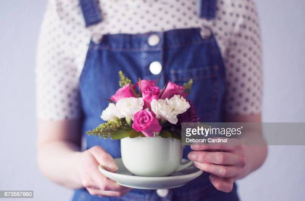 cup of flowers - sutton coldfield stock photos and pictures