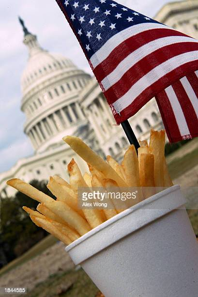 A cup of Freedom Fries sits with an American flag in front of the US Capitol building on Capitol Hill March 12 2003 in Washington DC With the French...