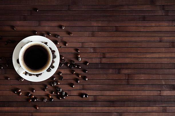 Cup Of Fresh Coffee On Dark Wood Background Wall Art