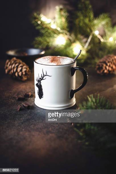Cup of hot chocolate with cinnamon.