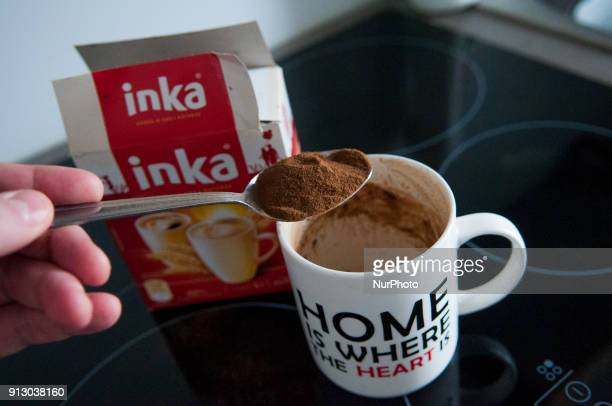A cup of Inka roadted grain drink is seen on February 1 2018 The coffee alternative is made from roasted rye barley chicory and sugar beet and does...