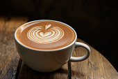 A cup of latte on wooden table