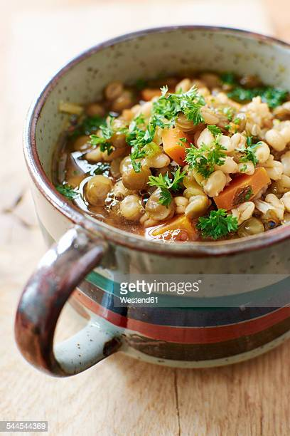 cup of lentil barley stew with brown lentils, barley, onions, carrots garnished with parsley - lentil stock pictures, royalty-free photos & images