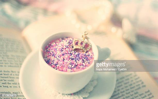 Cup of punch with candy decoration