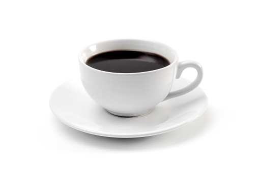 Cup of Strong Black Coffee in a White Cup and Saucer 955592660