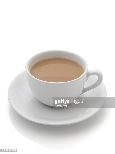 cup of tea isolated on white background - saucer stock pictures, royalty-free photos & images