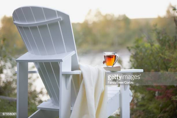 Cup of tea on Adirondack chair