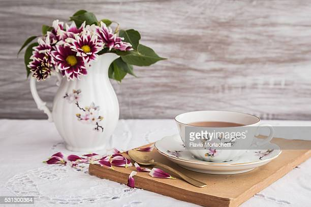 Cup of tea over table