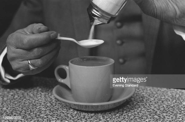 Cup of tea served by British Railways, UK, 1966.