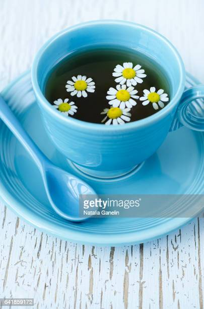 Cup of tea with chamomile flowers.