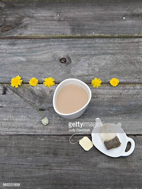 Cup of tea with dandelions