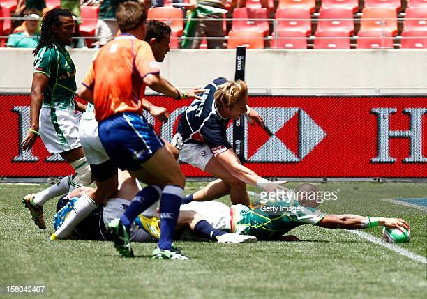 Cup quarter Final match Cornal Hendricks of South Africa in action during the Nelson Mandela Bay Sevens round three during the HSBC Sevens World...