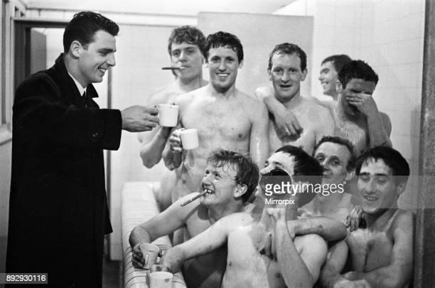 FA Cup Semi Final match at Burnden Park Bolton Everton 1 v Manchester United 0 Jubilant scenes in the dressing room as Everton players celebrate...