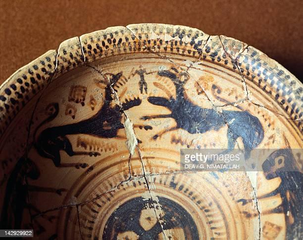 Cup showing animal figures late geometricstyle pottery Greece Detail interior decoration Greek Civilization 8th Century BC Athens Ethnikó Arheologikó...