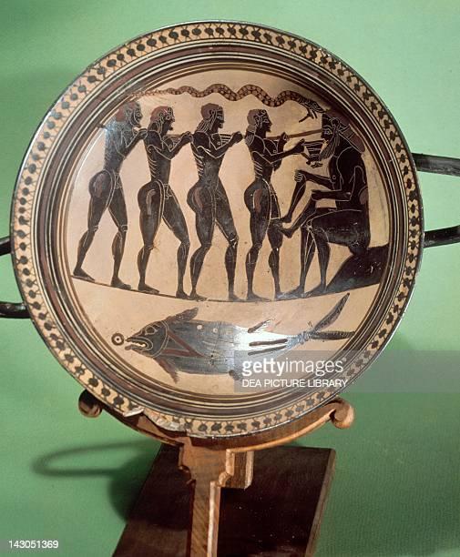 Cup showing Ulysses blinding Polyphemus blackfigure pottery Greek Civilization 6th Century BC Paris Musée Du Cabinet Des Medailles De La Bibliothèque...