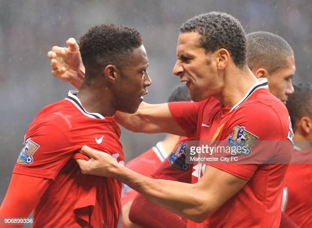 FA Cup Third Round Manchester City v Manchester United Etihad Stadium Manchester United's Danny Welbeck is congratulated by team mate Rio Ferdinand...