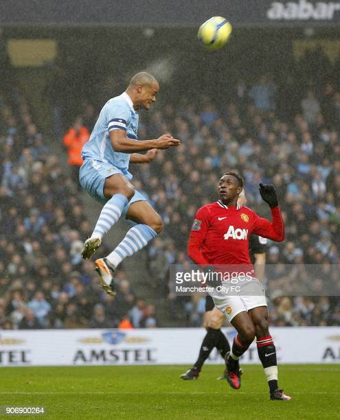 FA Cup Third Round Manchester City v Manchester United Etihad Stadium Manchester City's Vincent Komapny rises high to win the ball ahead of...