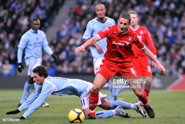 FA Cup Third Round Manchester City v Nottingham Forest City of Manchester Stadium Nottingham Forest's Chris Cohen gets past Manchester City's Blumer...