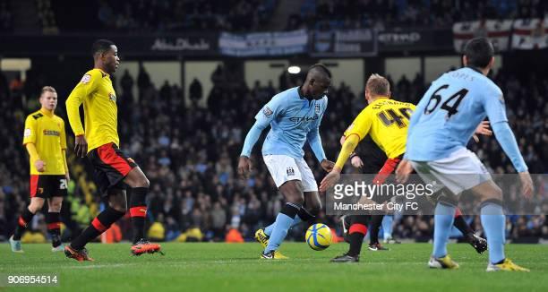 Cup, Third Round, Manchester City v Watford, Etihad Stadium, Manchester City's Mario Balotelli takes on Watford's Joel Ekstrand