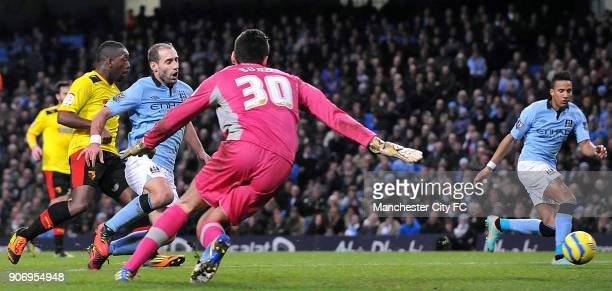 FA Cup Third Round Manchester City v Watford Etihad Stadium Manchester City's Scott Sinclair prepares to take on Watford goalkeeper Jonathan Bond
