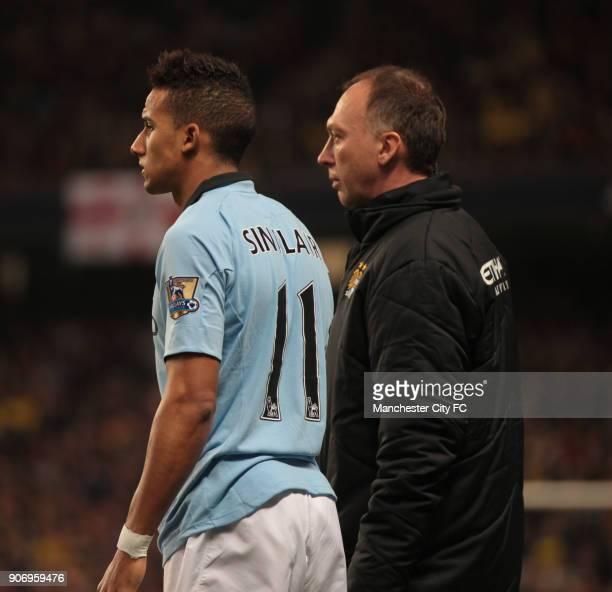 FA Cup Third Round Manchester City v Watford Etihad Stadium Manchester City coach David Platt and player Scott Sinclair