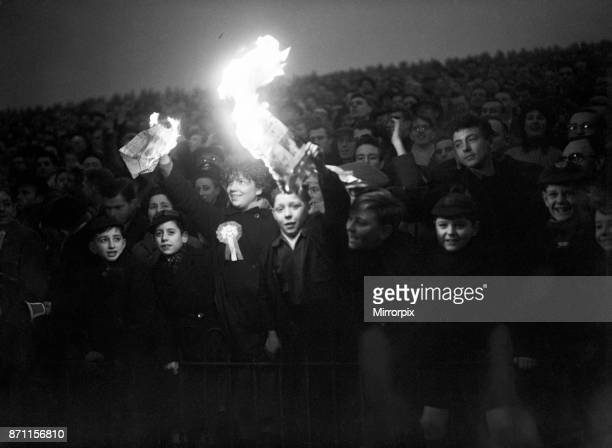 Cup Third Round match at The Valley. Charlton Athletic 7 v Burton Albion 0. Young fans lift the pre-floodlights gloom, 7th January 1956.