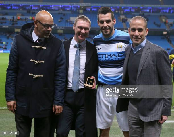 FA Cup Third Round Replay Manchester City v Blackburn Rovers Ewood Park Manchester City's Alvaro Negredo is presented with the pfa player of the...