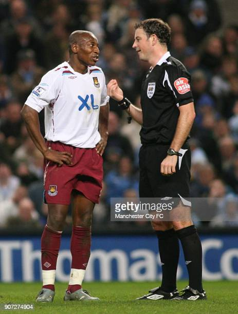 FA Cup Third Round Replay Manchester City v West Ham United City of Manchester Stadium Referee Mark Clattenburg and West Ham United's Luis Boa Morte...