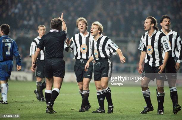 FA Cup Third Round Replay match at St James Park Newcastle United 2 v Chelsea 2 Newcastle players Warren Barton and John Beresford protest to the...
