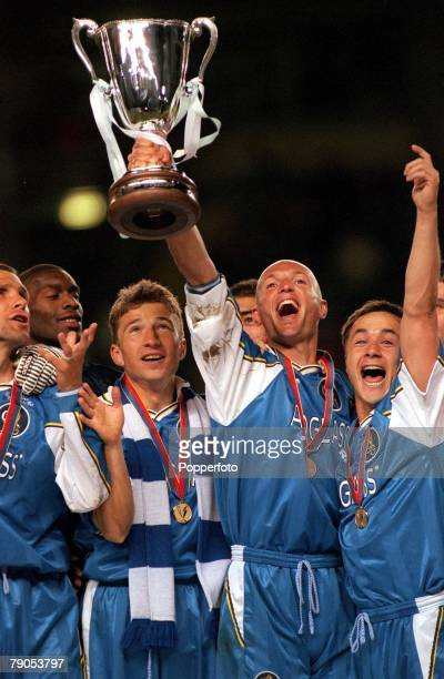 Cup Winners Cup Final 13th MAY 1998 Stockholm Sweden Chelsea 1 v Stuttgart 0 Chelsea's Frank Leboeuf flanked by Dennis Wise and Dan Petrescu...