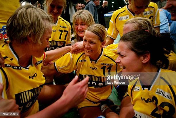 Cup Winners Cup final Ikast/Bording celebrating Tonje Kjaergaard Gro Hammerseng Danijela Ercevic