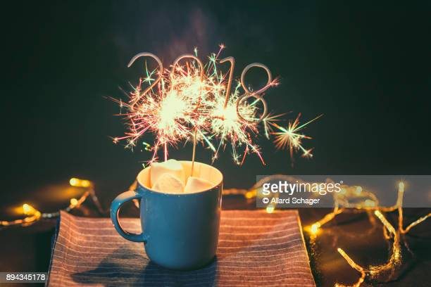 Cup with igniting 2018 Sparkler