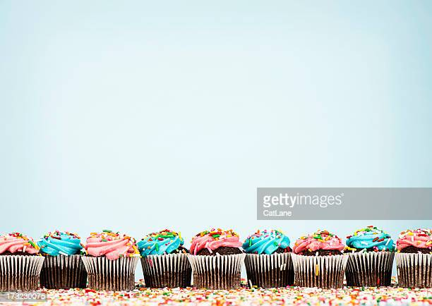 cupcake border - in a row stock pictures, royalty-free photos & images
