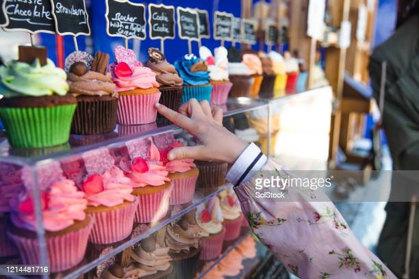 cupcake choices - choice stock pictures, royalty-free photos & images