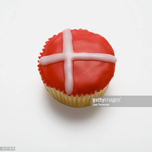 Cupcake decorated with the flag of Denmark