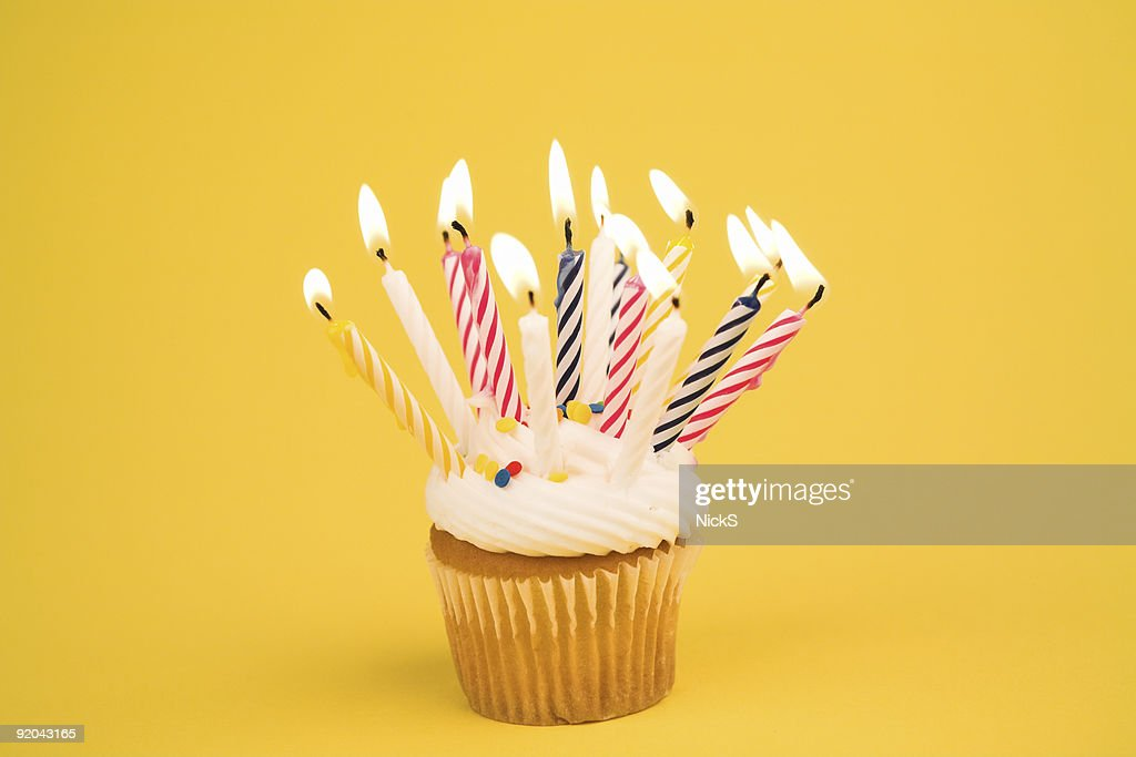 Surprising Cupcake Lots Of Candles Stock Photo Getty Images Funny Birthday Cards Online Hendilapandamsfinfo