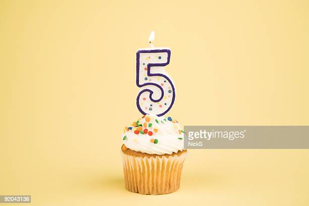 cupcake number series (5) - anniversary stock pictures, royalty-free photos & images