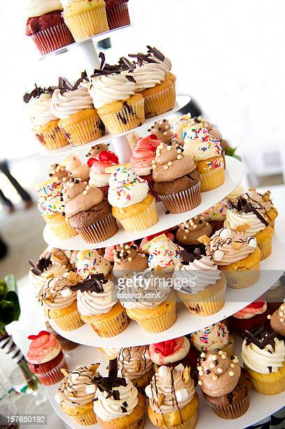 cupcake tower - tower stock pictures, royalty-free photos & images