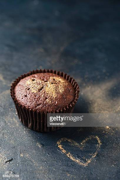 Cupcake with golden heart